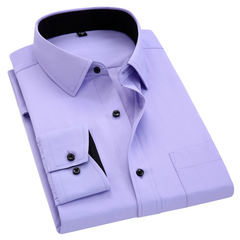 Men Long Sleeved Shirt Slim Fit Style Design Solid Color Business Casual Dress Shirt Male Social Brand Men Clothing 2019 New