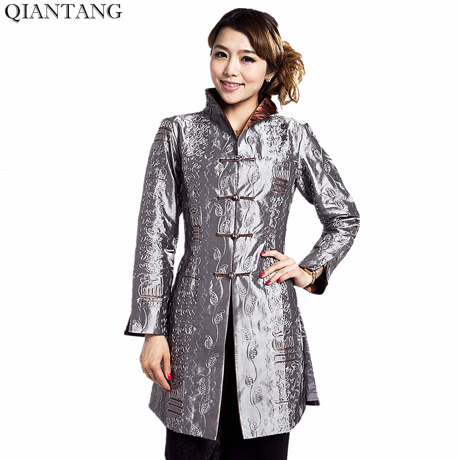 Gray Traditional Chinese style Ladies Jacket Mujer Chaqueta Women Satin Embroidery Coat Size S M L