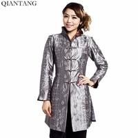 회색 중국 전통 스타일 숙녀 재킷 Mujer Chaqueta 여성 새틴 자수 코트 크기 Sml XL XXL XXXL 4XL 5XL Mny001B