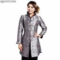 Gris Traditionnel Chinois style Dames Veste Mujer Chaqueta Femmes Satin Broderie manteau Taille S M L XL XXL XXXL 4XL 5XL Mny001B