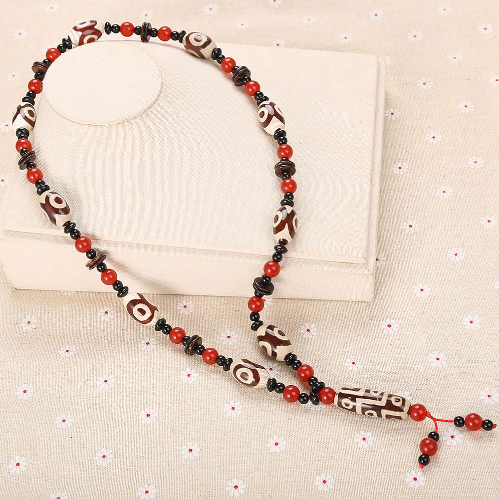 Natural Agate Dzi Big Beads Men Women Water Drop Popular Necklace Jewelry Chokers Retro Sweater Gift Chain Fashion Reiki Vintage black style original ipartsbuy mobile phone touch screen replacement for huawei ascend y625