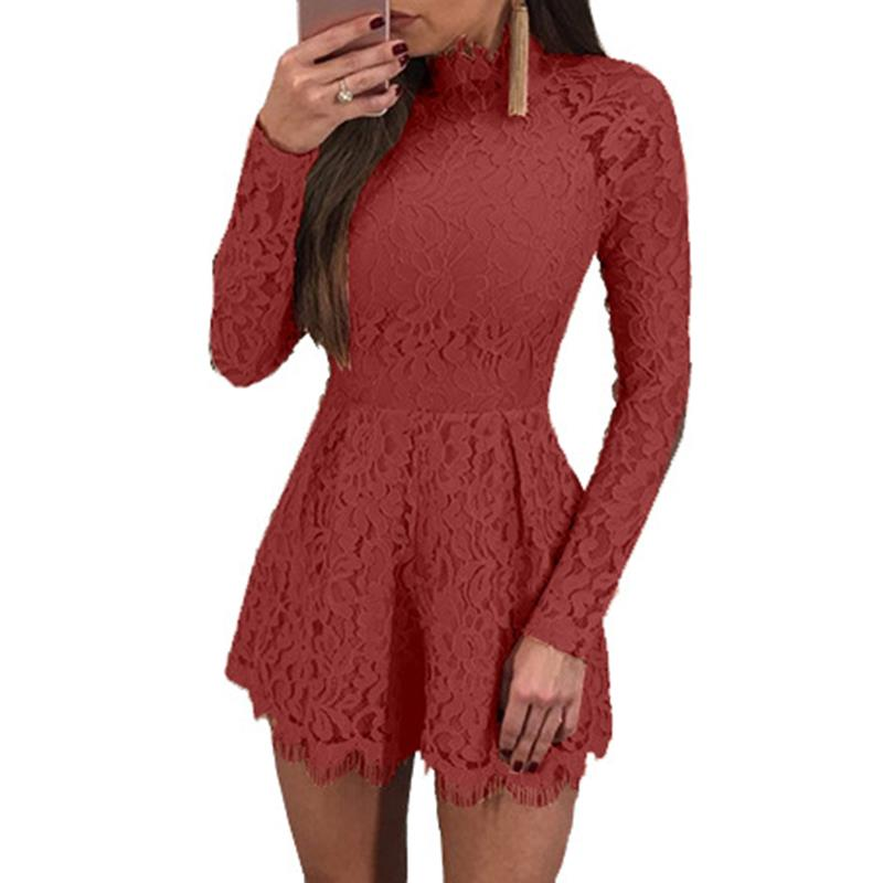 Womens Sexy Playsuits Elegant Lace Jumpsuit Romper Hollow Out Backless Ladies Long Sleeve Overalls Short Playsuit WS3980M