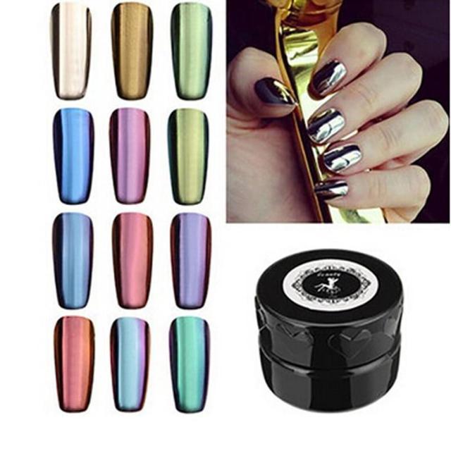 Cool! 12 Colores de Uñas Glitter Powder Shinning Espejo de Maquillaje En Polvo de Uñas de Arte DIY Pigmento de Cromo Con Esponja del Palillo de la Pluma 2017