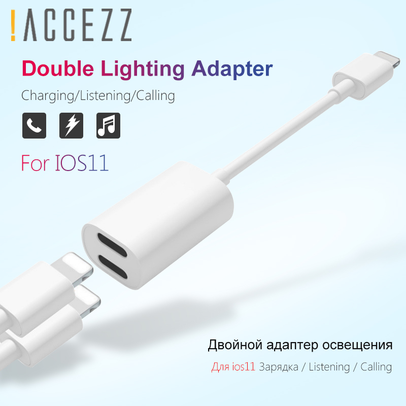 !ACCEZZ For Apple Charging Audio Adapter For <font><b>iPhone</b></font> X 7 8 plus XS XR IOS 11 Splitter Charge Earphone <font><b>2</b></font> <font><b>in</b></font> <font><b>1</b></font> Aux <font><b>Cable</b></font> Converter image