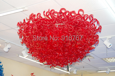 Free Air Freight Curly Red Glass Ceiling Decoration Lights for WeddingFree Air Freight Curly Red Glass Ceiling Decoration Lights for Wedding