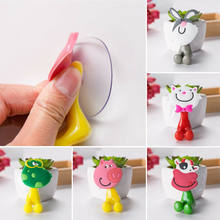 1X3D Cartoon Animal Cute Sucker Toothbrush Wall Holder Suction Cup Bathroom Baby(China)