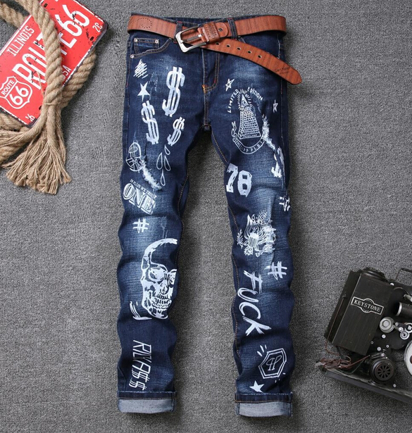 2016 New Design Men s Casual Solid Jeans Full Length Slim Mid Raise Fashion Jeans Homme