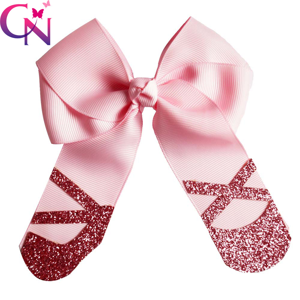 5 Glitter Dance Shoe Shape Hair Bows With Clips For Kids Girls Handmade Boutique Bling Cheer Bows Hairgrips Hair Accessories matisse dance with joy