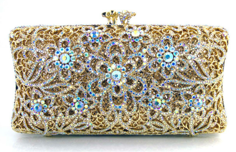 Woman Luxury Diamond Rhinestone Evening Bag Crystal Bag Wallet Wedding Bridal Clutch Party Banquet Purse Black/Gold/Silver/Red