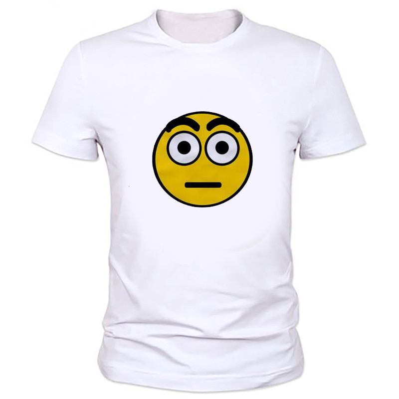 Olhar Rosto Impresso T Shirt Camisa Dos Homens Estilo Big
