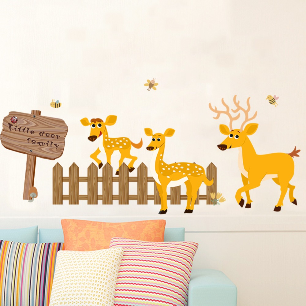 Deer Fence Direction Board Wall Stickers Living Room Bedroom Skirting line Wall Mural Poster Art Kids Room Nursery Wallpaper