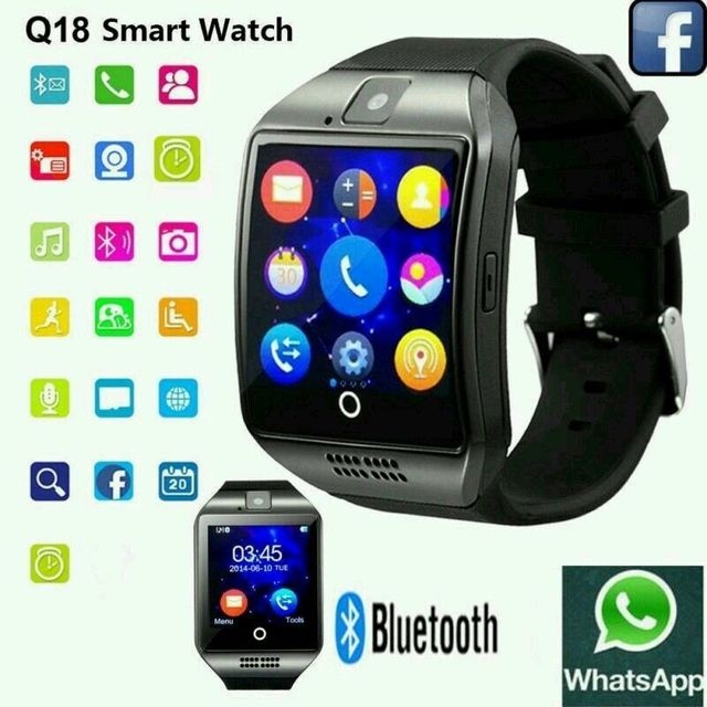 Smart Watch with Camera, Q18 Bluetooth Smartwatch with Sim Card Fitness Activity Tracker Sport Watch for Android Smart phone