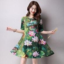 Vintage Ethnic Lotus Style Cotton Linen Dress Large Size Summer Loose Women's Flax Dress Button Pocket 2017 Creative Design