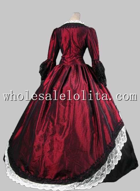 18th века готический цвет красного вина и черные Мария Антуанетта период платье Производительность Костюмы Хеллоуин костюм