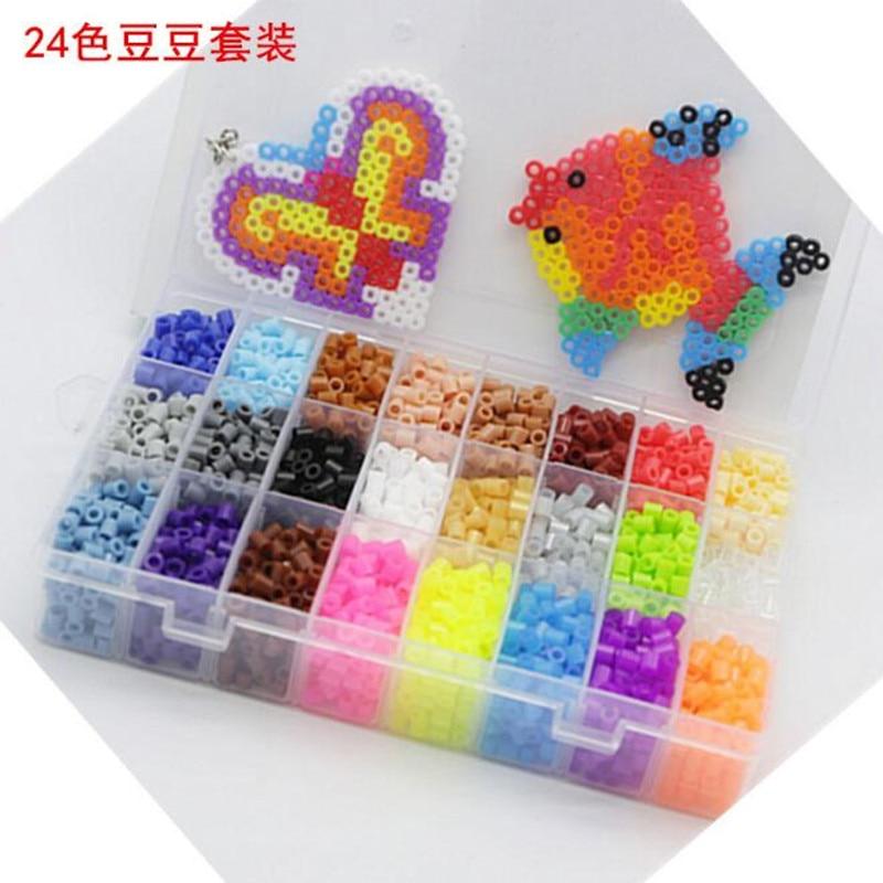 Kids Hama Beads Perler Beads 5MM Box Set Fancy Toys 24 Colors 4500pcs children DIY educational