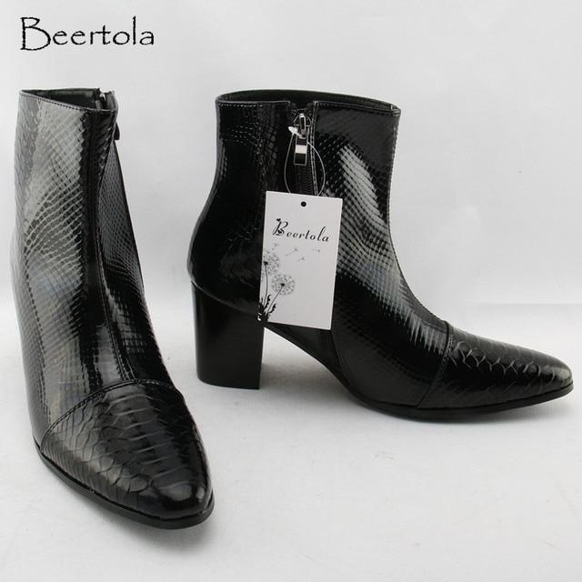 14be82a342ab2 Beertola 2018 nuevas botas para hombre aumentan la altura 5 cm tacones  altos gruesos botas de