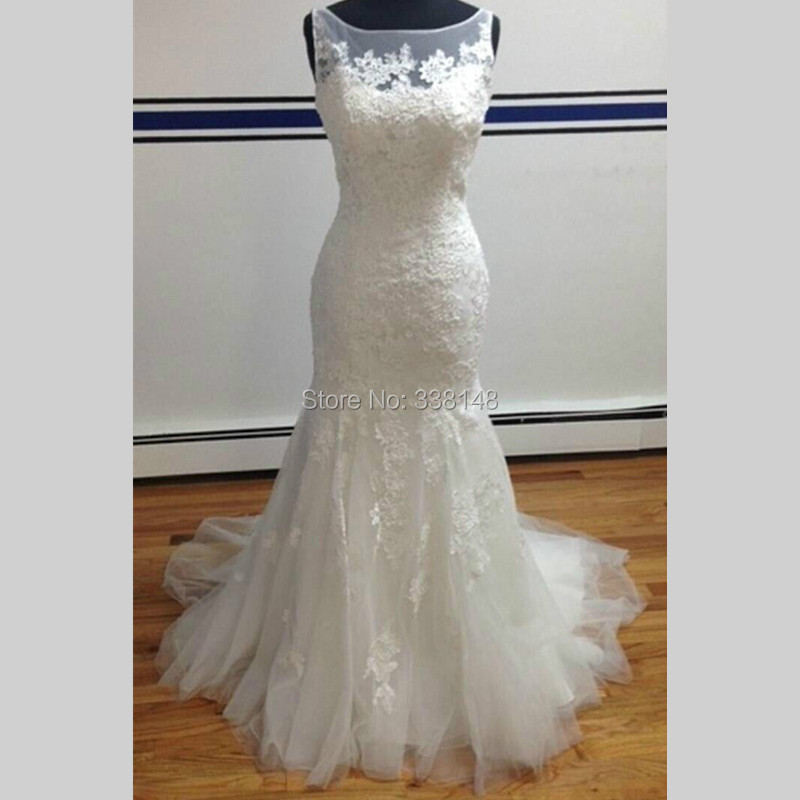 2015 New Elegant Full Long Sleeves Mermaid Wedding Dresses: Real Picture NEW 2015 Elegant Long MERMAID WEDDING DRESS