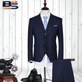 Tamaño S-5XL (Jacket + pants + vest) hombres boutique de moda raya del algodón del vestido de boda del novio trajes Masculinos Premium marca traje de negocios