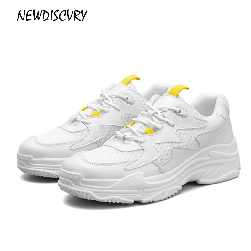 NEWDISCVRY Genuine Leather Mesh Women's Platform Dad Sneakers 2018 Fashion Women Flat Walking Shoes Woman Casual tenis Footwear