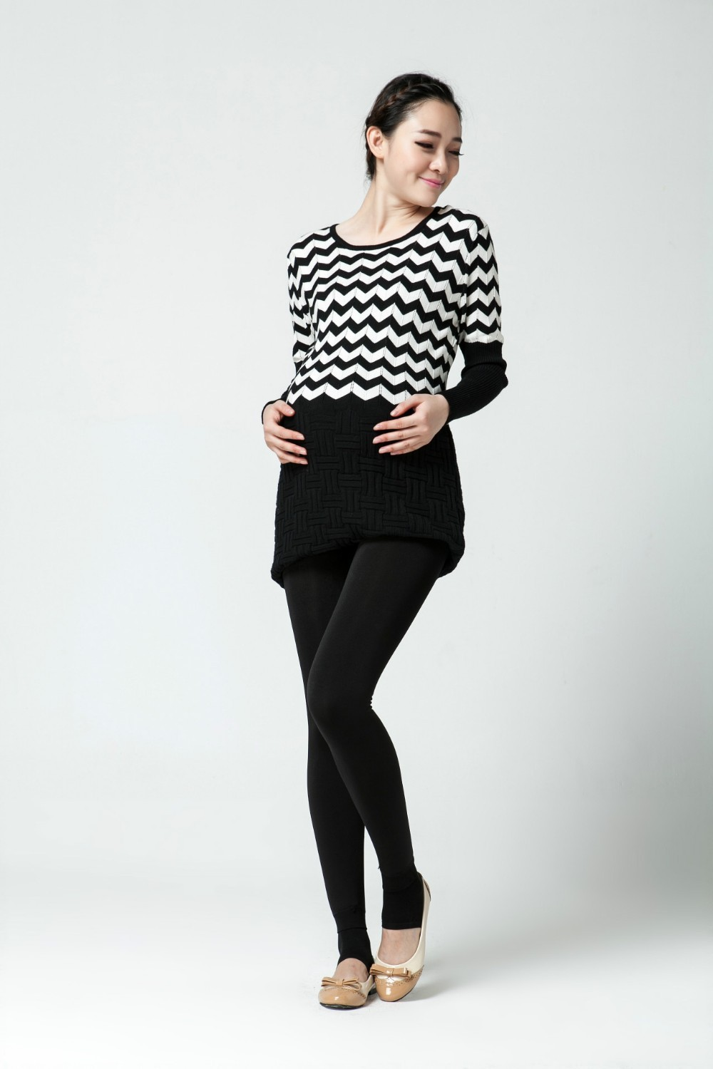 Women clothing maternity clothes winter Leggings thickened with velvet pregnant women trousers warm pants 5