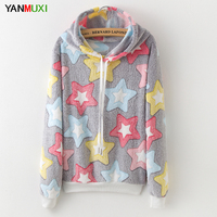 New 2017 Harajuku Kawaii Sheep Star Printed Hoodies Long Sleeve Winter Hooded Sweatshirt Women Cute Panda