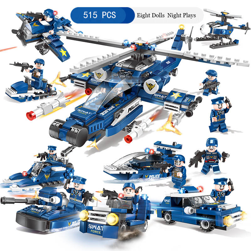 City Police Series Special Police Action Puzzle Building Blocks 800 Pcs 8 In 1 Toys For Children New Year Gifts Education Toy