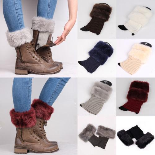 Womens Knitted Boot Cuffs Fur Knit Warm Leg Warmers Boot Socks Legs Warmers Shoes Set