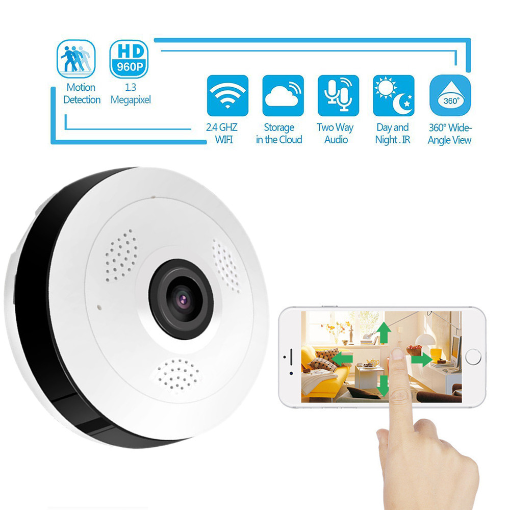 Wireless Mini 360 Degree Full HD 1080P Panoramic IP Camera Fisheye CCTV Security