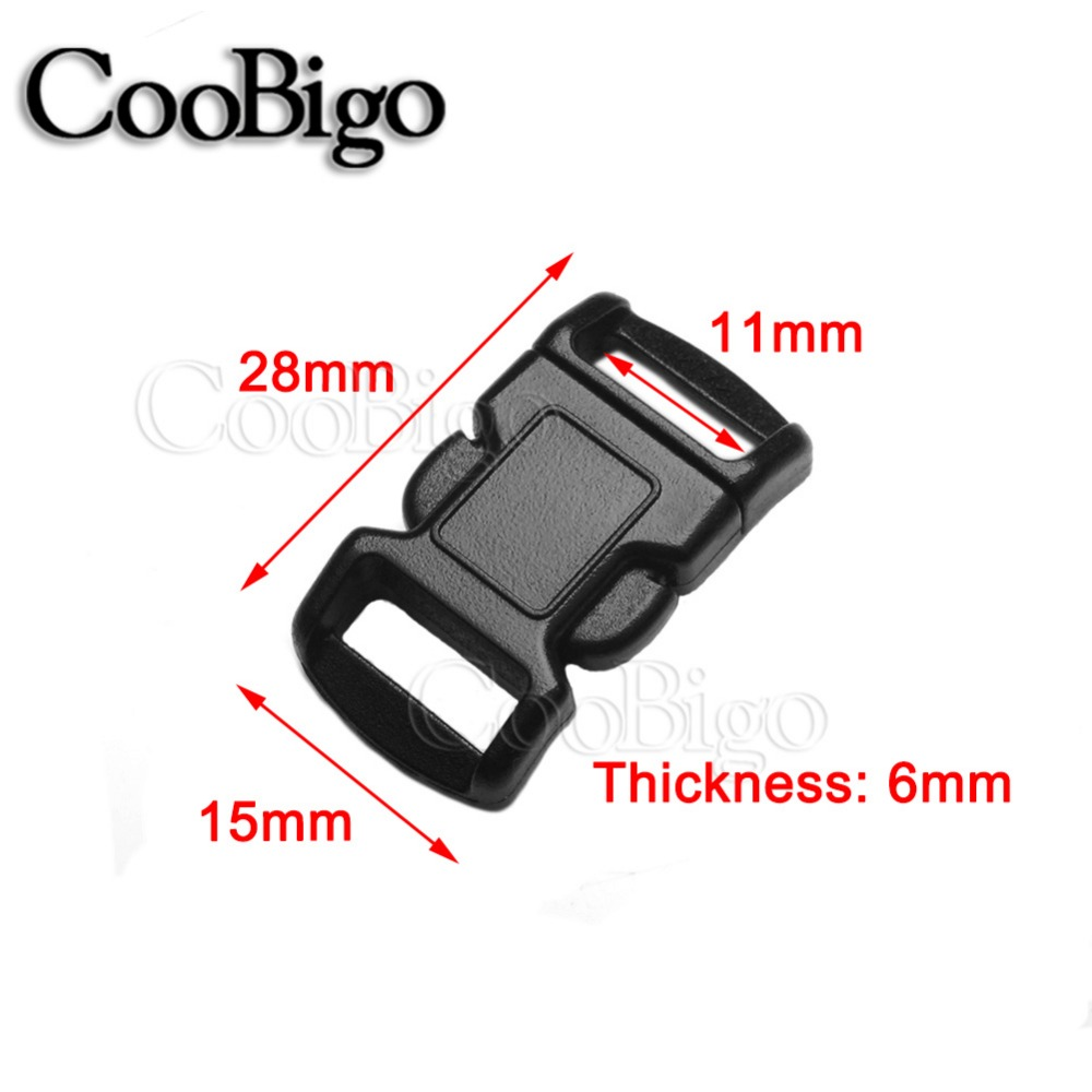 1000pcs 3 8 Side Release Buckle Curved Plastic Parachute 550 Cord Paracord Bracelet Outdoor Backpack Strap