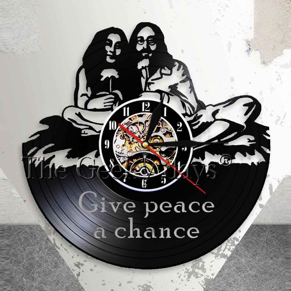 John Lennon Give Peace A Chance Quote Wall Art Wall Clock Peace