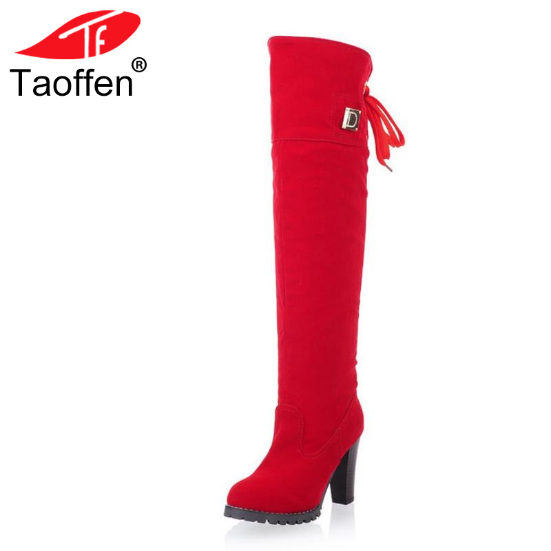 TAOFFEN Women Over Knee Boots Women Fashion Long Boot Winter Footwear High Heel Shoes Sexy Snow Warm P7909 EUR Size 34-43 size 31 45 women real genuine leather high heel over knee boots winter warm long boot riding quality sexy footwear shoes r8297