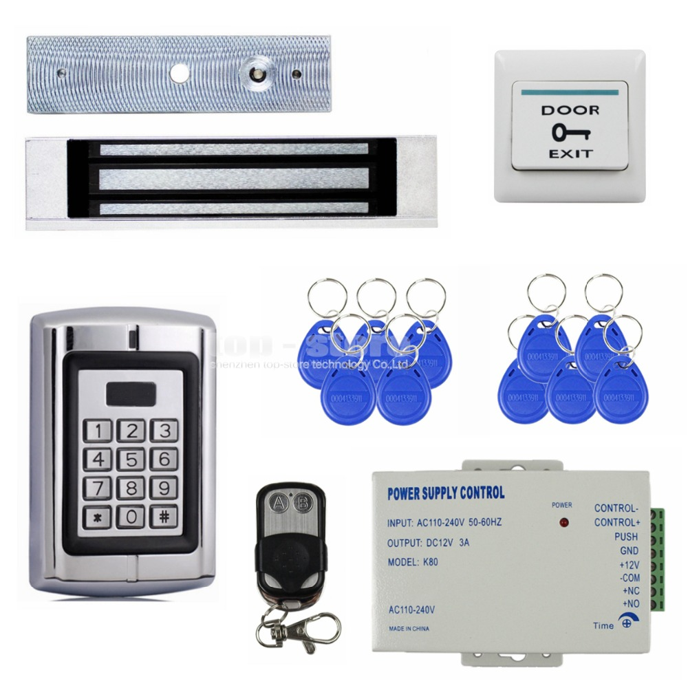 DIYSECUR Remote Control Magnetic Lock 125KHz RFID Reader Password Metal Keypad Access Control System Security Kit BC2000 metal rfid em card reader ip68 waterproof metal standalone door lock access control system with keypad 2000 card users capacity