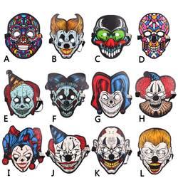 Полный уход за кожей лица клоун Хэллоуин Светодиодный свет голос управление маски для век косплэй Костюм Декор для Хэллоуина, вечеринки