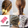 New Women Lady French Fashion Magic Hair Twist Styling Clip Stick Bun Maker Braiding Roller Tool Hair Band Accessories Black