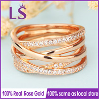 LS Hot Sale Rose Gold Entwined Ring Wedding Rings For Women Compatible With Original Jewelry Lady