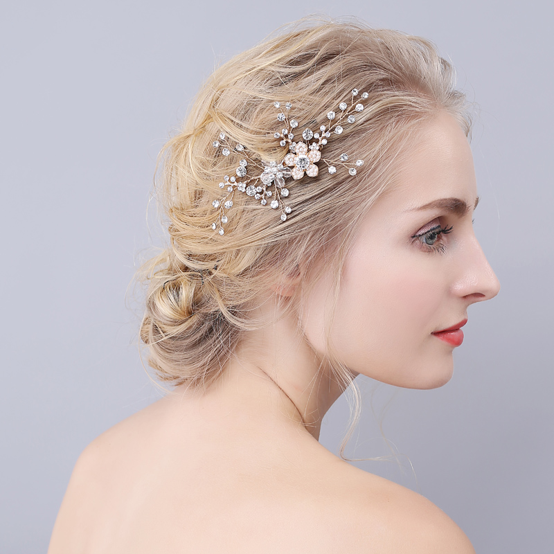 2017 Fashion Luxury Pearls Hair Comb Crystal Clear