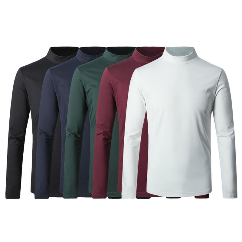 2018 new spring Mens high quality High collar mercerized cotton Velour Long sleeve t-shirt men,casual wool liner t-shirt men