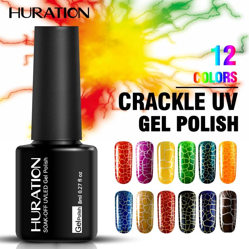Huration 8ml Crackle Gel Nail Polish LED Pattern 12 Color
