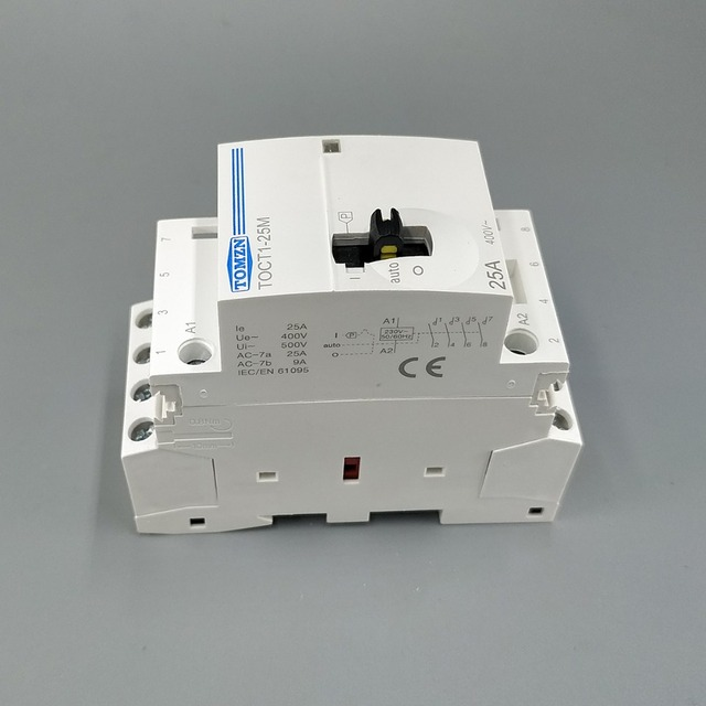 TOCT1 4P 25A 220V/230V 50/60HZ Din rail Household ac Modular contactor with Manual Control Switch 4NO or 2NO 2NC or 4NC