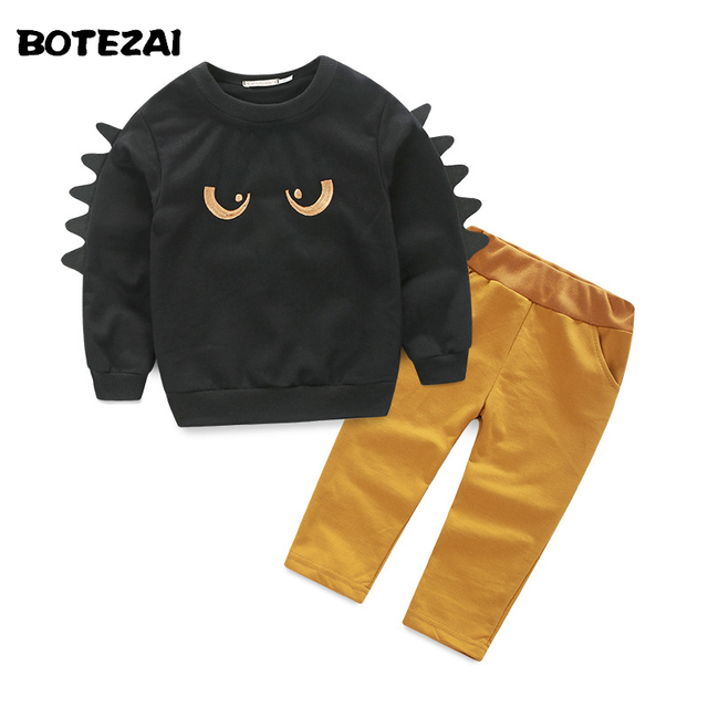 2016 Toddler Girls Boys Clothing Set Children Cartoon eyes clothes black Sweatshirts+pants set kids fashion clothes suit