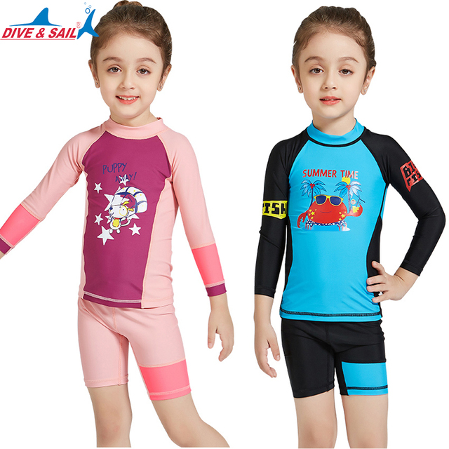 07d2a60dd8 DiveSail kids girls swimsuit 2pcs set UV 50+ Children rashguard Beachwear  Surf Bathing Swimming Costume 3-10Y