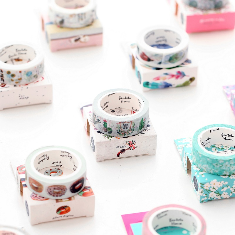 15mm X 7m Cute Flower Food Animals Decorative Washi Tape Diy Scrapbooking Masking Tape School Office Supply 2017 new arrival masking decorative tape day of the week black white school stationery scrapbooking tool office adhesive tape 7m