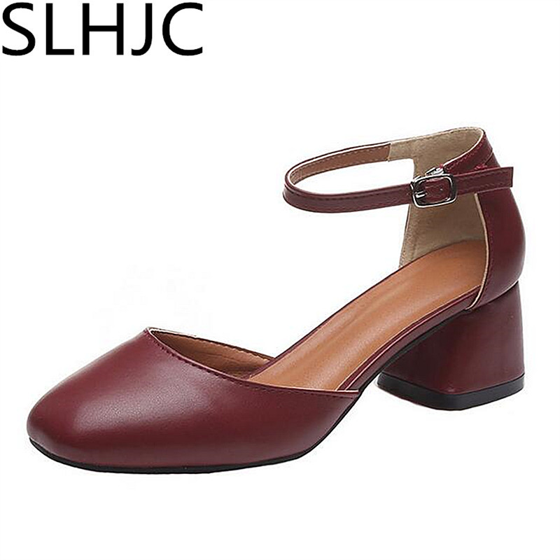 SLHJC Autumn Med Low Heel Leather Pumps Square Toe Shallow Mouth 5 CM 3 CM Heel Ankle Buckle Lady OL Office Elabrativly Designed