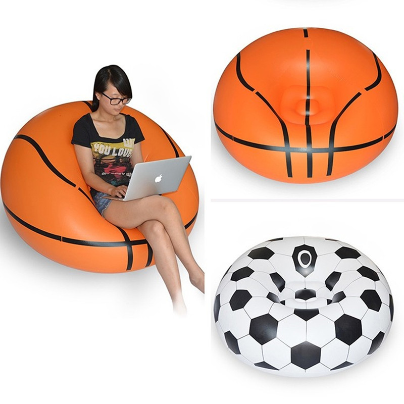 Folding Inflatable Lazy man Garden Sofa Indoor and Outdoors Sofa Leisure Soft and Comfortable Creative Football Basketball Sofa free shipping hot sale lazy man instant sofa