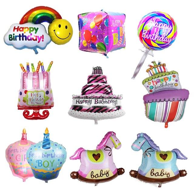 Large Size Happy Birthday Foil Balloons Birthday Cake Rainbow Helium