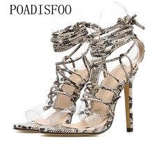e673a1187e7 POADISFOO 2019 Women Sexy Leopard New Snake Pattern high-heeled Roman Shoes  Strap Sandals 40