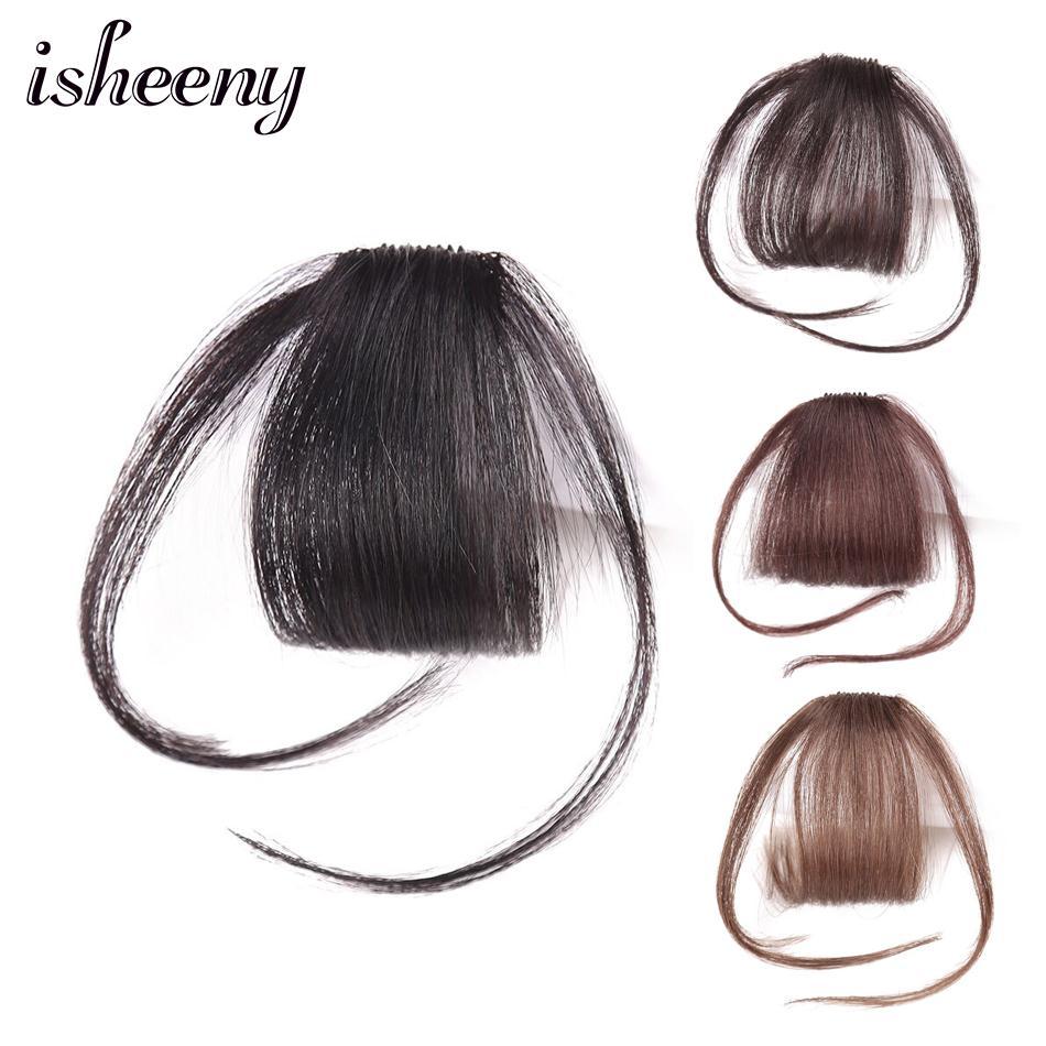 Isheeny Black Brown Remy Fringe Clip In Human Hair Bangs 10g Natural Thin Clip Bangs Piece
