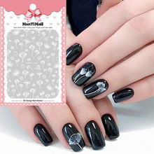 New 1 sheet 3D Nail Art Stickers  White Transparent Flower Decals