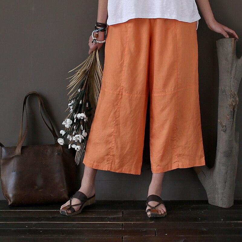 100% Leinen Solide 7 Farbe Frauen Breite Bein Hosen Capris Lose Beiläufige Sommer Vintage Hosen Marke Qualität Breite Bein Hosen A211
