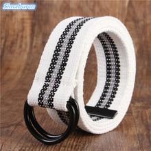 Luxury Brand Belts Multicolor Canvas For Women Casual Men Simple Double Loop Shaped Mental Buckle Belt Unisex